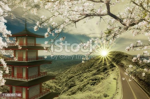 istock 3d rendering of imaging temple with the road along the mountain 1139397746
