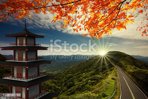 istock 3d rendering of imaging temple with the road along the mountain 1139397763