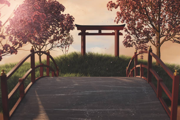 3d rendering of japanese shinto next to japanese cherry trees 3d rendering of japanese shinto next to japanese cherry trees shrine stock pictures, royalty-free photos & images
