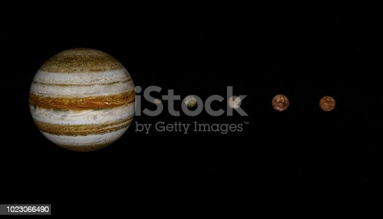 istock 3d rendering of Jupiter planet and moons 1023066490