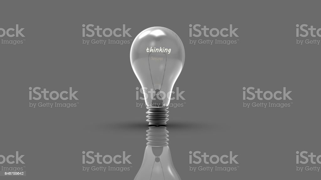 3d rendering of lamp bulb icon with thinking workding inside stock photo