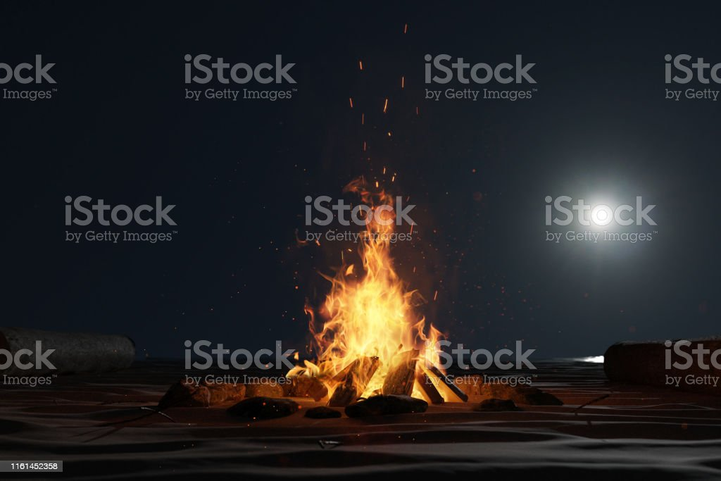 3d rendering of large bonfire with sparks and particles in front of...