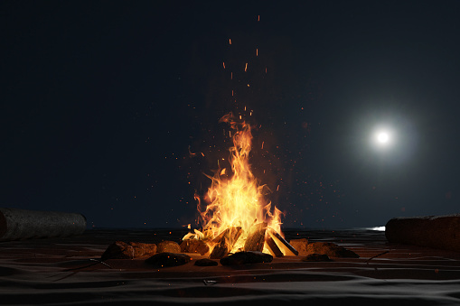 3d Rendering Of Large Bonfire With Sparks And Particles In Front Of Full Moon Light At Sand Beach Stock Photo - Download Image Now