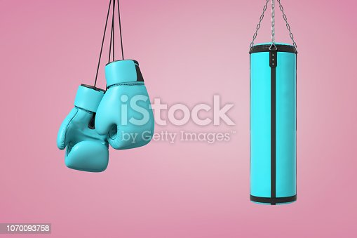 istock 3d rendering of large pair of blue boxing mitts hangs near a blue boxing bag on a pink background. 1070093758