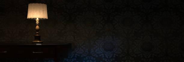 3d-rendering aufhellen nachttischlampe vor grunge wand - nachttischleuchte stock-fotos und bilder
