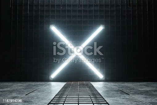 1039536404istockphoto 3d rendering of lighten X alphabet shape at rusty mesh and grunge wall 1187914236