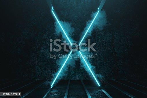 1039536404 istock photo 3d rendering of lighten X metal shape on grunge floor surrounded by smoke 1254992811