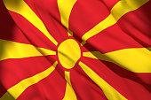 3d rendering of a Macedonia national flag waving