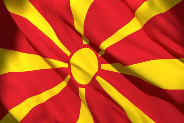makedonya bayrağı 3d rendering - üsküp stok fotoğraflar ve resimler