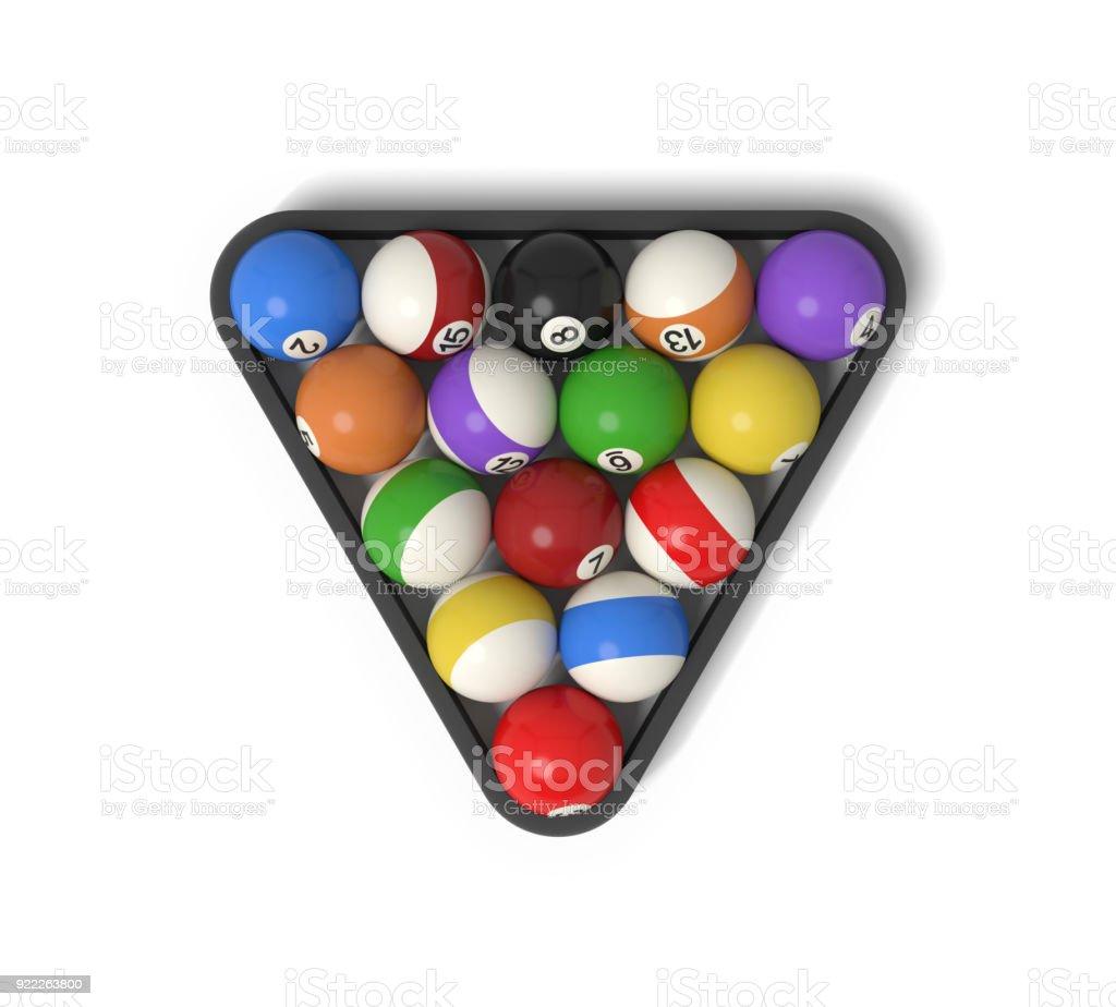Render 3D de muchas bolas con rayas de colores y números dentro de un rack - foto de stock