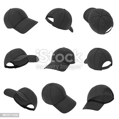 istock 3d rendering of many black baseball caps hanging on a white background in different angles 992574330