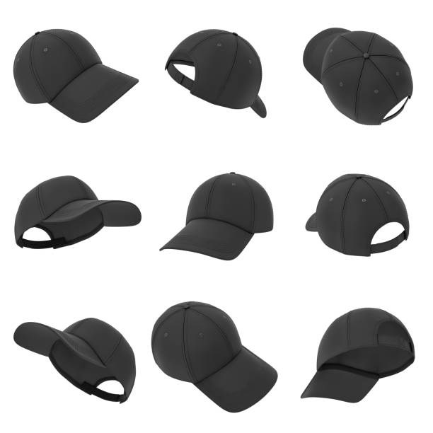 3d rendering of many black baseball caps hanging on a white background in different angles 3d rendering of many black baseball caps hanging on a white background in different angles. Baseball hat. Casual headwear. Sport style. baseball cap stock pictures, royalty-free photos & images