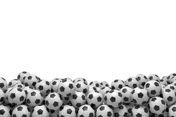 3d rendering of many football balls lying in a big pile on top of each other on a white background. stock photo