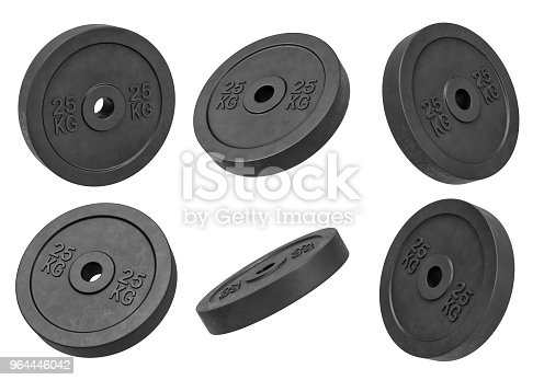 istock 3d rendering of many isolated black 25 kg barbell weights hanging on a white background turned to different sides 964446042