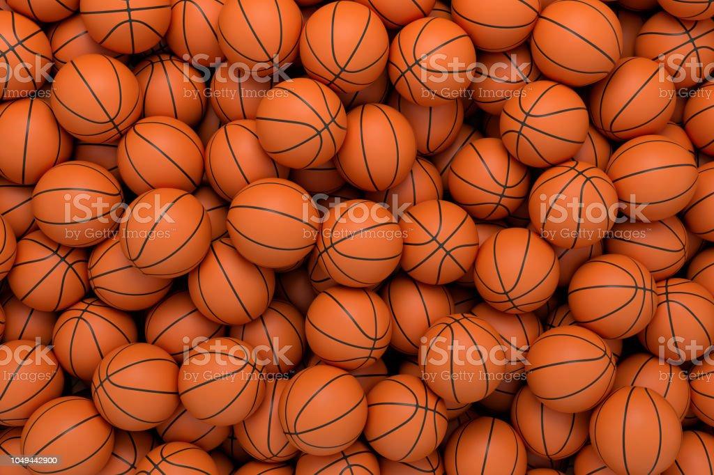 Render 3D de muchas bolas de baloncesto naranja en una interminable pila de visto desde arriba. foto de stock libre de derechos