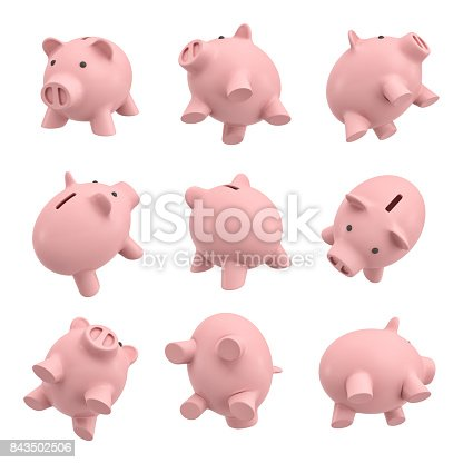 istock 3d rendering of many piggy banks in different views from their sides, tops and bottoms 843502506