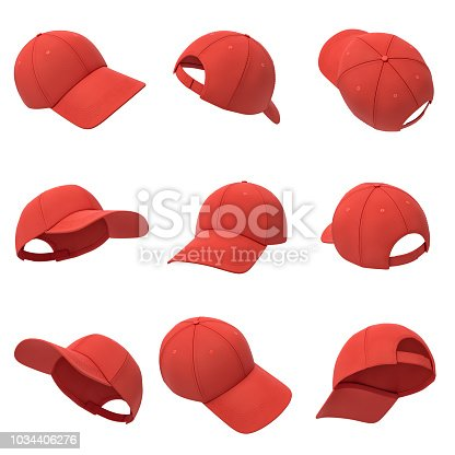 istock 3d rendering of many red baseball caps hanging on a white background in different angles. 1034406276