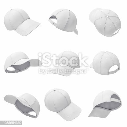istock 3d rendering of many white baseball caps hanging on a white background in different angles. 1035654350