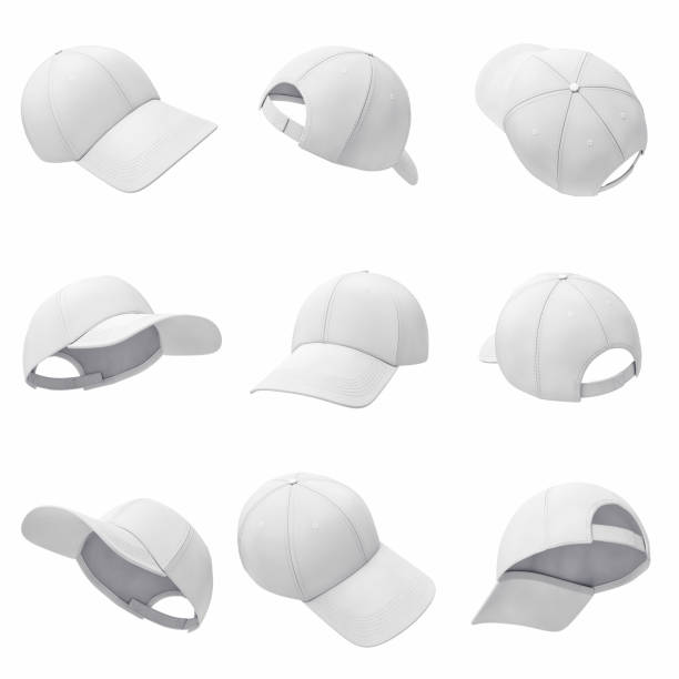 3d rendering of many white baseball caps hanging on a white background in different angles. - czapka zdjęcia i obrazy z banku zdjęć