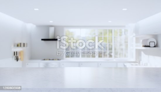 istock 3d rendering of marble counter product display with kitchen blurred background. 1250602008