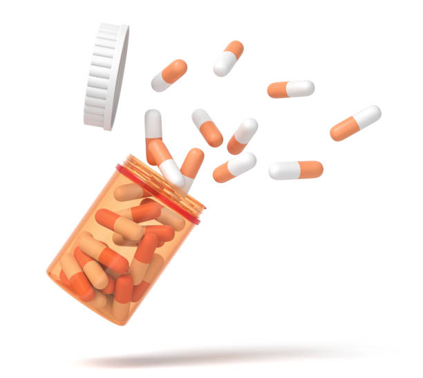 3d rendering of medical pills falling from a plastic jar isolated on white background