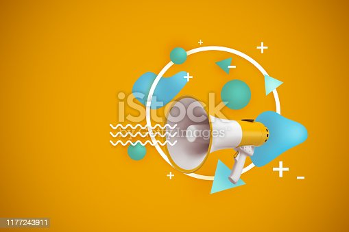 istock 3d rendering of megaphone on yellow background with abstract objects 1177243911