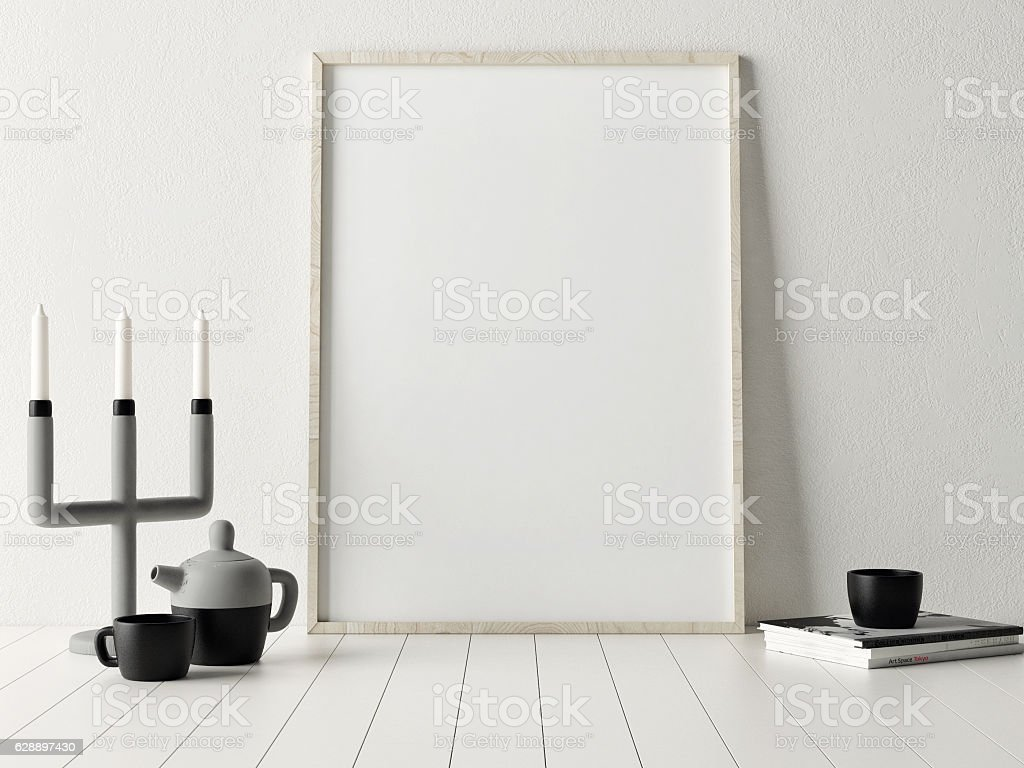 3d rendering of mock up poster with candle holder stock photo
