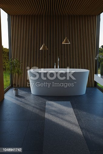 istock 3d rendering of modern bathroom with wood slats and free standing bathtub 1048941742