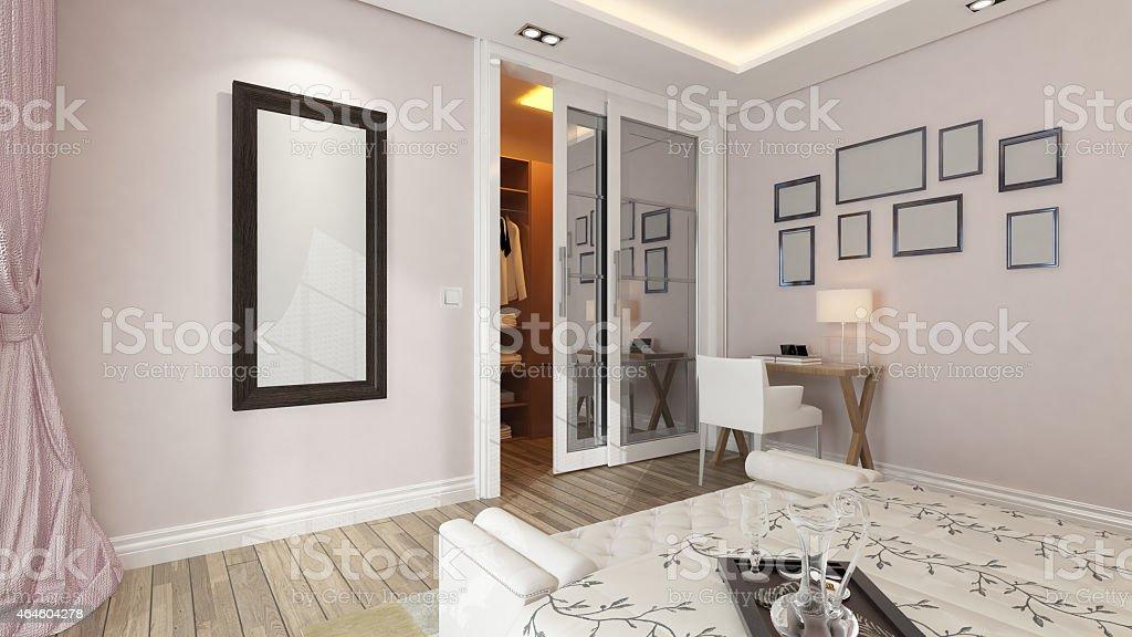 Parete Camera Da Letto Rosa : Rendering d della moderna camera da letto con parete rosa