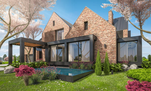 3d rendering of modern clinker house on the ponds in spring