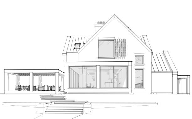 3d rendering of modern clinker house on the ponds with pool black line on white background
