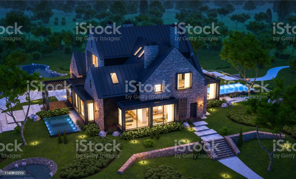 3d rendering of modern clinker house on the ponds with pool in night 3d rendering of modern cozy clinker house on the ponds with garage and pool for sale or rent with beautiful landscaping on background. Clear summer night with many stars on the sky. Architecture Stock Photo
