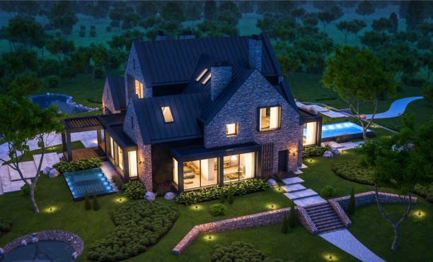 3d rendering of modern clinker house on the ponds with pool in night