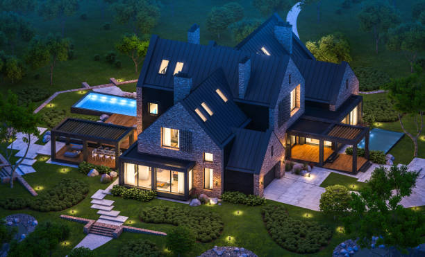 3d rendering of modern clinker house on the ponds with pool in night 3d rendering of modern cozy clinker house on the ponds with garage and pool for sale or rent with beautiful landscaping on background. Clear summer night with many stars on the sky. stone house stock pictures, royalty-free photos & images