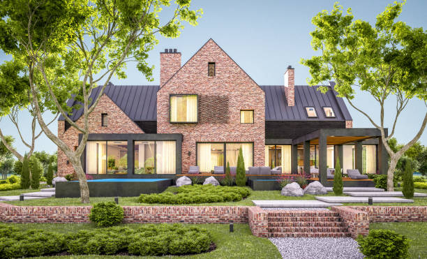3d rendering of modern clinker house on the ponds with pool in evening 3d rendering of modern cozy clinker house on the ponds with garage and pool for sale or rent with beautiful landscaping on background. Clear summer evening with cozy light from window stone house stock pictures, royalty-free photos & images