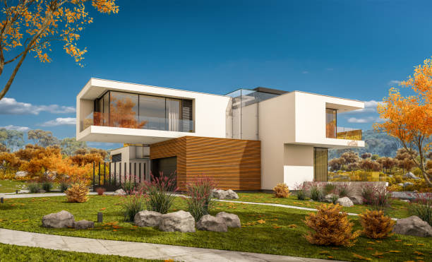 3d rendering of modern cozy house at goldy autumn