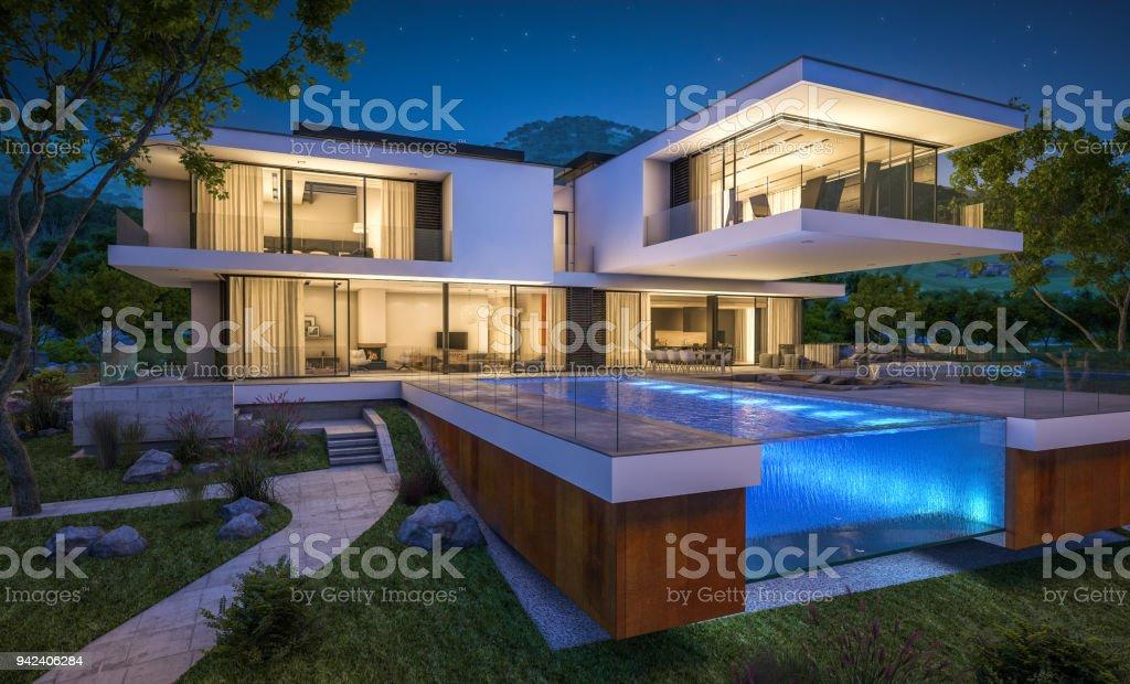 Render 3D de moderna acogedora casa junto al río en la noche foto de stock libre de derechos