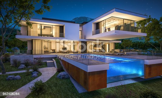 istock 3d rendering of modern cozy house by the river at night 942406284