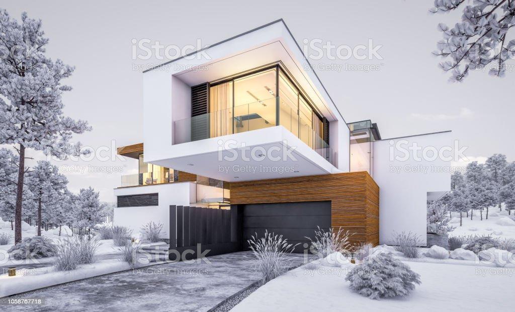 3D-Rendering modernes, gemütliches Haus am Fluss im Winterabend - Lizenzfrei Abenddämmerung Stock-Foto