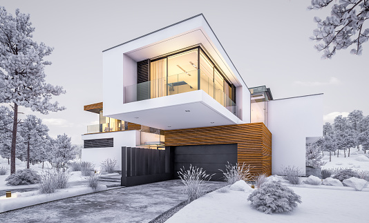 3drendering Modernes Gemütliches Haus Am Fluss Im Winterabend Stockfoto und mehr Bilder von Abenddämmerung