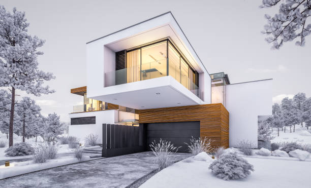3d rendering of modern cozy house by the river in winter evening - pinaceae stock photos and pictures