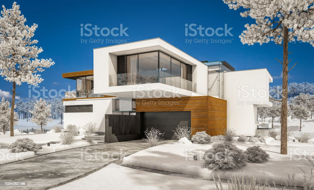3d rendering of modern cozy house by the river in winter. royalty-free stock photo