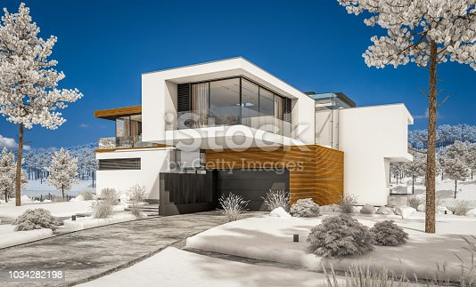 3d rendering of modern cozy house by the river with garage. Cool winter day with shiny white snow. For sale or rent with beautiful mountains on background.