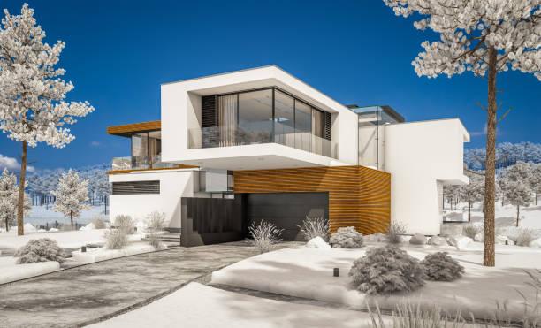 3d-rendering modernes, gemütliches haus am fluss im winter. - traumhaus stock-fotos und bilder