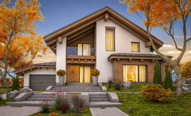 3d rendering of modern cozy house in chalet style autumn evening with soft light.