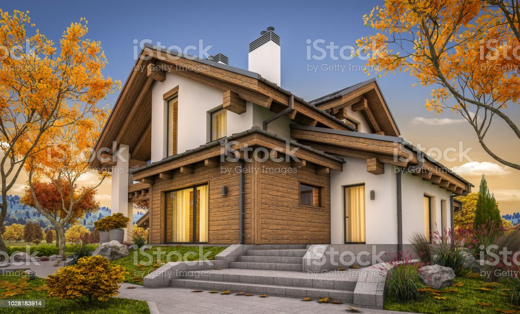 3d Rendering Of Modern Cozy House In Chalet Style Autumn Evening