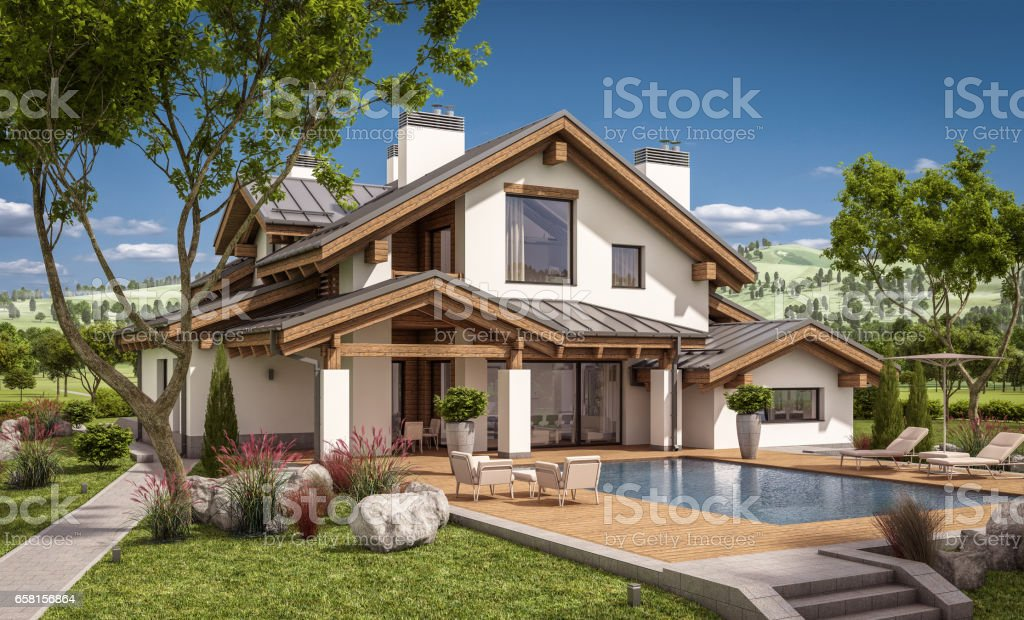 3d rendering of modern cozy house in chalet style stock photo