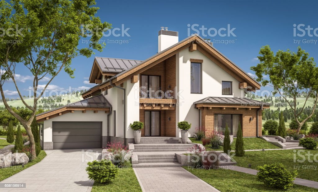 3d rendering of modern cozy house in chalet style vector art illustration