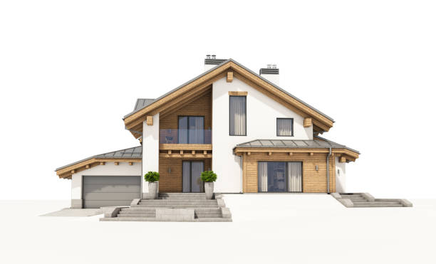 3d rendering of modern cozy house in chalet style - isolated house, exterior imagens e fotografias de stock