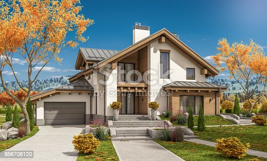 istock 3d rendering of modern cozy house in chalet style 856708120